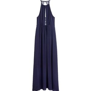 H&M navy blue maxi dress with lace